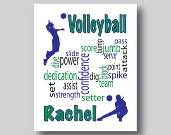volleyball art volleyball decor volleyball team volleyball coach gift volleyball print - Volleyball Bedroom Decor