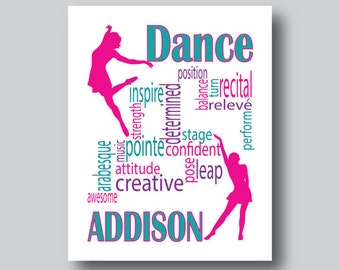 Personalized Dance Gifts, Dance Recital Gift, Dance Print, Dance Teacher Gift, Dance Art, Dance Team, Dance Room Decor, You choose colors
