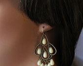 Creme Boho Chandelier Earrings, Off White Bohemian Hoops, Large Boho Dangles, Boho Chic Jewelry, Gypsy Jewelry