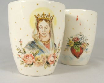 Handmade porcelain mug with hand painted Madonna and red roses