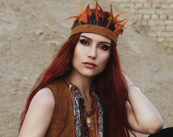 Boho Feather Crown with real leather kauri and ostrich festival