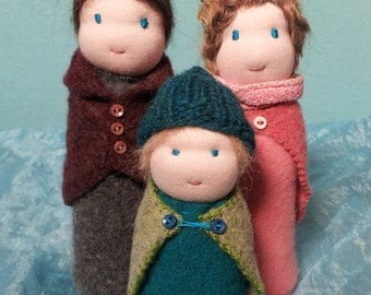 Wool Felt Waldorf table puppet doll family