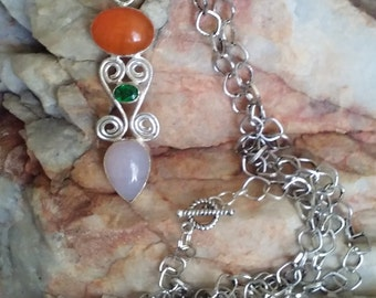 Multi Stone Sterling Silver ~ 925 ~ Necklace