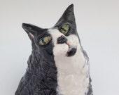 Ceramic Tuxedo Cat Sculpture