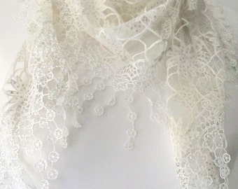 Cream Lace style Triangle Scarf , Ladies Ivory Scarf with tassel trim , Lace Style Floral Scarf