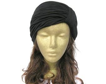 Black Turban Headband, Hijab, Turband, Turban Hat, Turban Head Wrap, Extra Wide Headband, Hair Band, Black Headband Women, Mens Head Wrap