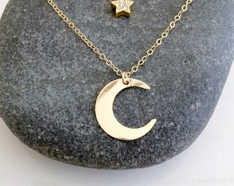 layered crescent moon necklace moon pendant necklace cubic zirconia star necklace star and celestial jewelry crescent moon 14k gold filled