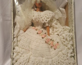 """16"""" Hand Knit White Wedding Dress Doll with Veil"""