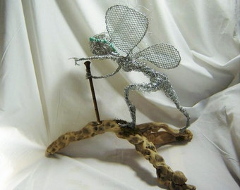 Original Fairy Wire Sculpture - Fantasy Fairy Wire Sculpture On Driftwood - Silver Tone Fairy Wire Sculpture Flute And Turquoise Head band