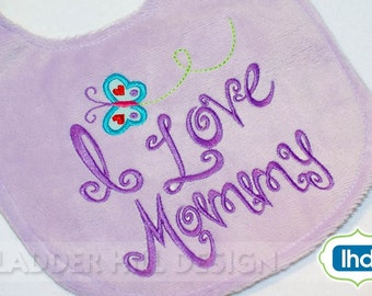 I Love Mommy Applique Embroidery - I Love Mom Applique-baby bib designs-Mommy Applique-Cute Little Baby Applique Embroidery Design BA005