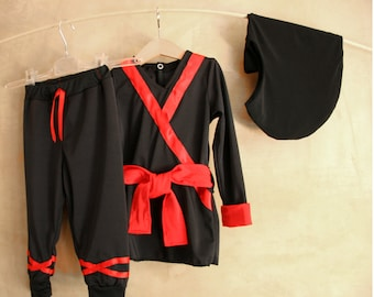 Ninja unique costume, gender neutral, black red lycra tunic trousers balaclava, Ninjago birthday gift, Children school play, 1T 2T 3T 4T 5T