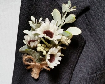 WEDDING BOUTONNIERE Groom Groomsmen Best Man Father White Daisies Eucalyptus Buttonhole Mint White Brown Twine Rustic Woodland Prairie Prom