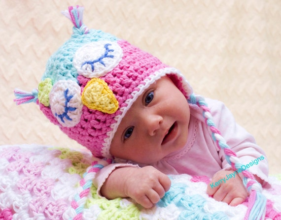 Crochet Pattern For Newborn Owl Hat : CROCHET OWL HAT Pattern Kerry Jayne Design Baby Owl Hat