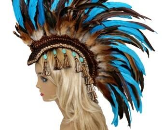 Headdress / Feather Mohawk/ Warrior Headdress/ Burning Man Headdress/ Blue Headdress/ Tribal Headdress/ feather Headdress