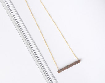 Handmade natural pine wood pendant. Gold color chain. Eco friendly Wooden Treasures For nature lovers Made in Latvia