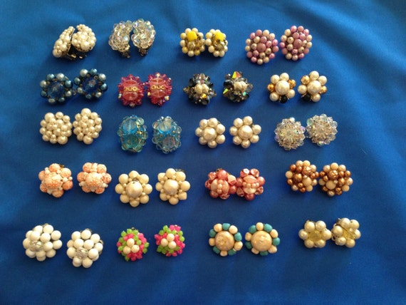 20 Pair (40 pcs) 1950's Vintage Cluster Earrings White, Blue, Pink, Crystal, Purple and Multi Color