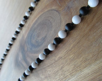 Men's Matte Black Onyx and White Jade Beaded Necklace, Men's Necklace, Mens Jewelry, Long Necklace, Gift for Men, Layering Necklace