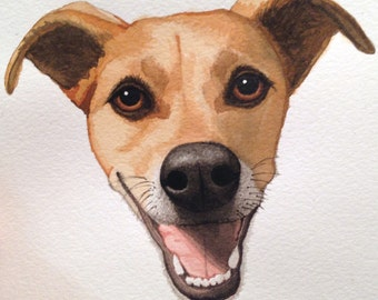 Watercolor Pet Portraits, Original Art, Hand-painted, Custom-made, Dogs & Cats, etc.