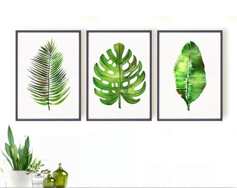 Palm leaf watercolor painting, Set of 3 Botanical art, Green leaf art, Nature art, Spring decor, Tropical, Monstera, Banana leaf, Areca palm