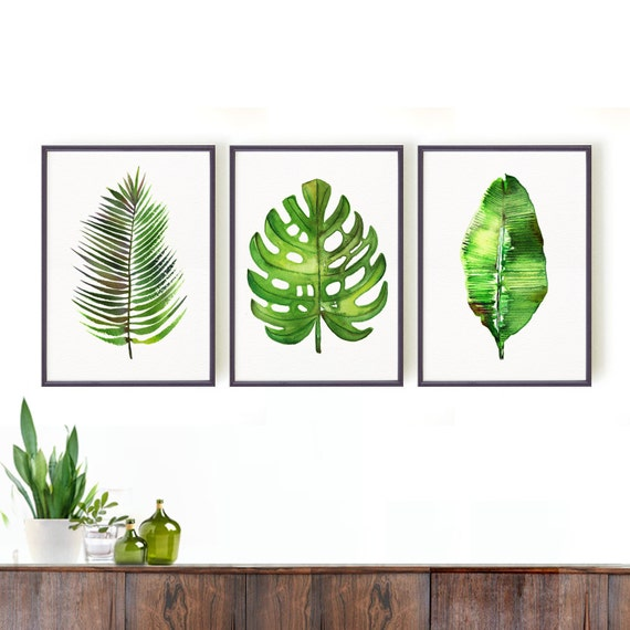 Watercolor Green Plants Monstera Nature Posters And Prints: Palm Leaf Watercolor Painting Set Of 3 Botanical Art Green