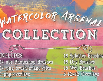 Watercolor Photoshop Brushes / Overlays Collection .abr Brushes, Watercolor Arsenal Photoshop Brushes & digital overlays