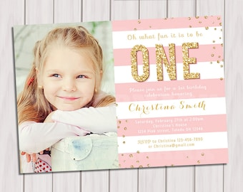 Pink and Gold Birthday invitation, Photo 1st Birthday Invitation, Gold Glitter Invitation, Kids birthday invite, Girl Printable invite