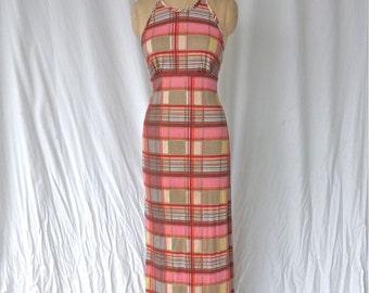 Plaid Knit Maxi Dress