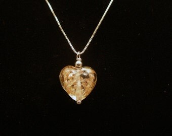 Murano Glass  Heart Necklace, Sterling Silver