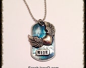 WINGED HEART Dog tag, memorial pendant, ride, fly, dream, angel wing charm, love, freedom, biker jewelry, motorcycle jewelry