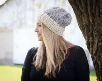 Knit Cap - Knit Hat - Chunky Cap - Slouchy Hat - Ribbed Brim Two Toned Wool Blend Custom Colors