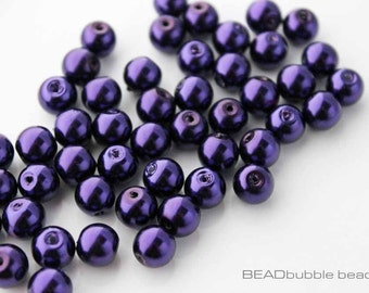 8mm Dark Purple Glass Faux Pearl Round Beads Pack of 50, Beads for Jewellery Making (GPB819)