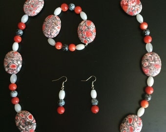 Red Mosaic Fashion Jewelry Set