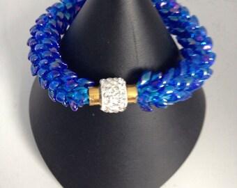 Blue Magatama Kumhimo Bracelet
