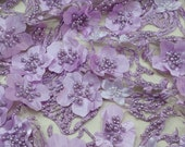 Lilac lace fabric, beaded luxury 3D lace fabric, hand beaded high quality lilac French chantilly lace fabric, sold by the yard