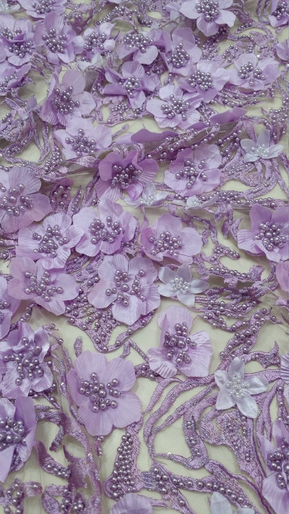 Lilac Lace Fabric Beaded Luxury 3d Lace Fabric Hand Beaded