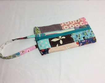 Flat Patchwork Pencil pouch/ Makeup bag/ Zipper Pouch
