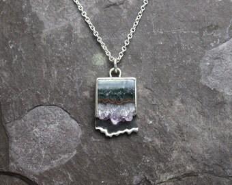 Agate Geode Slice & Sterling Silver Pendant