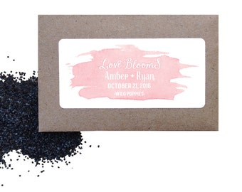 Watercolor seed favors - Watercolor wild poppy seed favors for wedding or shower - love is blooming