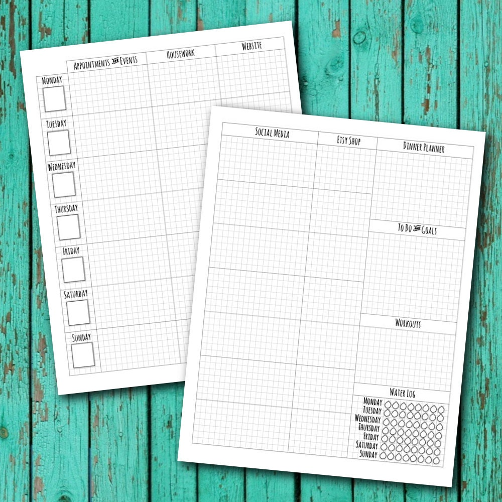 This is an image of Lively Bullet Journal Weekly Spread Printable
