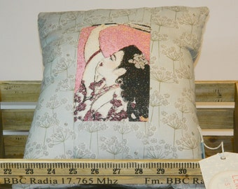Pink Geisha Embroidered Cushion