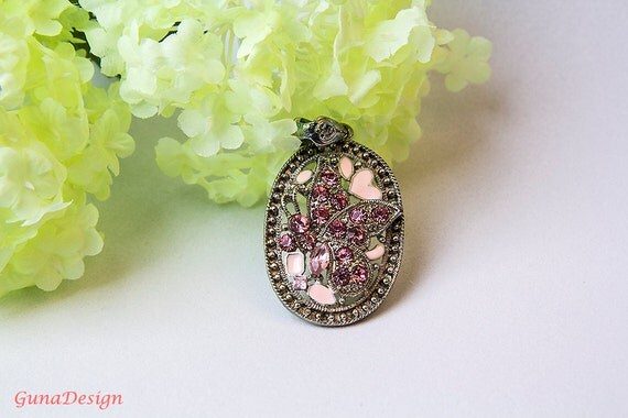 Vintage Metal Pendant with Pink Rhinestones Butterfly