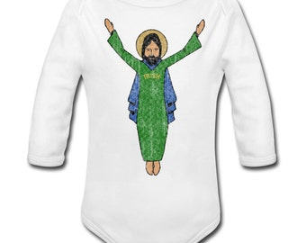 Baby's Touchdown Jesus Vintage Style Long Sleeve Bodysuit for Fighting Irish Fans!