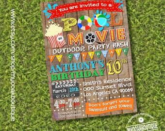 Movie pool party invitation pool birthday bash invite outdoor movie wood digital printable invitation you print invite 14031