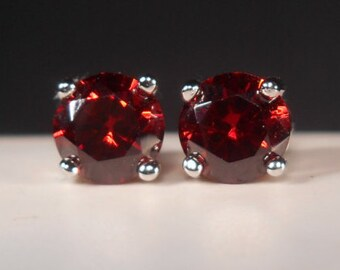 Ruby Stud Earrings|Simulated Red Ruby Studs|6mm Red Stud Earrings|Red Earrings|Ruby Earrings|Red Earrings|Red Studs|July Birthstone Jewelry