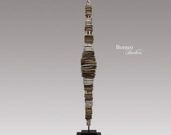 """Shell Currency Stick LUMI Money Stick From Papua Guinea Sepik Currency Shell Disk/Shell Ring Oceanic Artifact.Collectible Home Decor 23.5"""""""