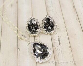 Smoky Grey Earring Black Bridesmaid Jewelry Charcoal Earring Grey Bridesmaid Jewelry Gray Bridal Jewelry Gray Silver Bridesmaid Jewelry