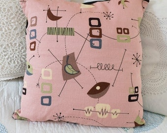 Pink Barkcloth Pillow Case, Mid Century Modern Fabric Pillow Cover made with Atomic Barkcloth, Space Age Retro Home Decor