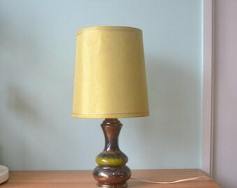 Vintage Mid Century Ceramic Table Lamp with Shade retro light lighting green