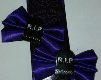 TOMBSTONE RIP HAIR Bow / Bow Tie Black and Purple Pair