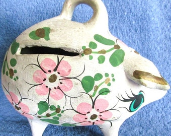 Vintage Miss Blue Eyed Piggy Bank 6in x 5in Carries Her Age Well